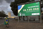A demonstrator wearing a Brazilian national flag as a cape for a rally in support of Brazil's President Jair Bolsonaro, walks past a billboard presenting the number of COVID-19 vaccines administered to encourage others to get the vaccine, outside the Health Ministry in Brasilia, Brazil, Tuesday, March 30, 2021. (AP Photo/Eraldo Peres)