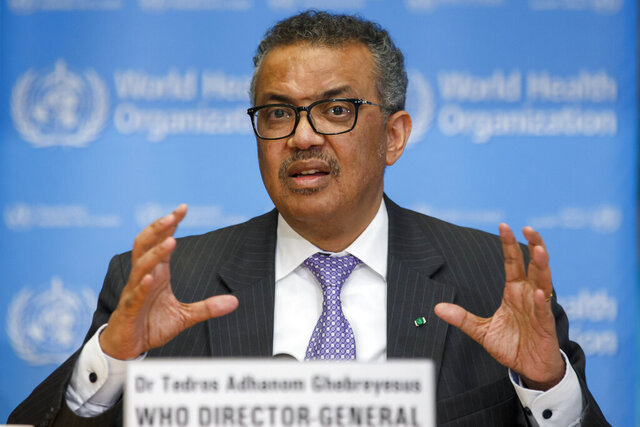 Tedros Adhanom Ghebreyesus, Director General of the World Health Organization speaks during a news conference on updates regarding on the novel coronavirus COVID-19, at the WHO headquarters in Geneva, Switzerland, Monday, March 9, 2020. (Salvatore Di Nolfi/Keystone via AP)