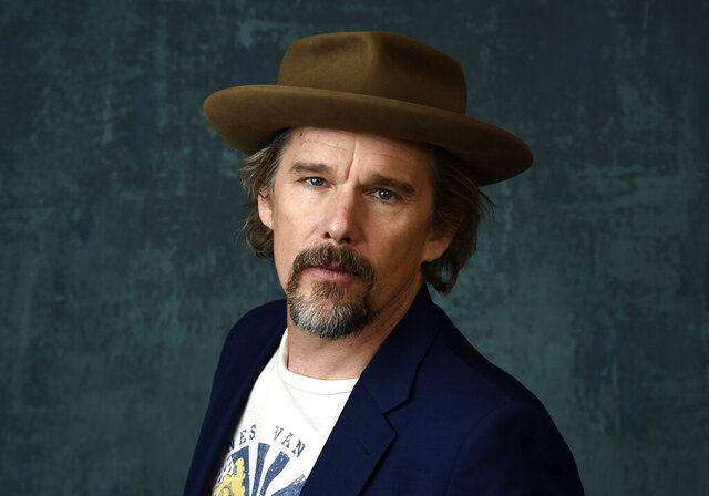 "FILE - Ethan Hawke poses for a portrait during the 2020 Winter Television Critics Association Press Tour in Pasadena, Calif., on Jan. 13, 2020. In an audiobook commissioned by the 92nd Street Y in Manhattan and airing online Oct. 19-29 Hawke inhabits the aging Rev. John Ames of Marilynne Robinson's acclaimed novel ""Gilead."" (AP Photo/Chris Pizzello, File)"