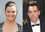 This combination photo shows Heather Tom at the 46th annual Daytime Emmy Awards in Pasadena, Calif. on May 5, 2019, left, and Jason Thompson at the 43rd annual Daytime Emmy Awards in Los Angeles on May 1, 2016. Tom won an Emmys for outstanding lead actress in a drama series for her role in