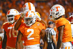 Tennessee running back Jabari Small (2) celebrates a touchdown against Bowling Green with teammates during the first half of an NCAA college football game Thursday, Sept. 2, 2021, in Knoxville, Tenn. (AP Photo/Wade Payne)