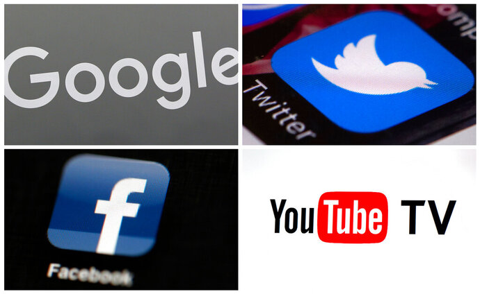 This photo combo of images shows, clockwise, from upper left: a Google sign, the Twitter app, YouTube TV logo and the Facebook app. Facebook has taken the lion's share of scrutiny from Congress and the media for its data-handling practices that allow savvy marketers and political agents to target specific audiences, but it's far from alone. YouTube, Google and Twitter also have giant platforms awash in more videos, posts and pages than any set of human eyes could ever check. Their methods of serving ads against this sea of content may come under the microscope next.  (AP Photo)