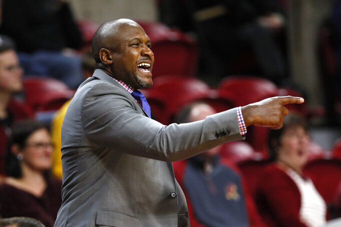Mississippi Valley State head coach Lindsey Hunter directs his team during the first half of an NCAA college basketball game against Iowa State, Tuesday, Nov. 5, 2019, in Ames, Iowa. (AP Photo/Charlie Neibergall)