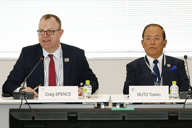 "Chief Executive Officer Toshiro Muto, right, and Craig Spence, head of communications of the International Paralympic Committee, attend a news conference in Tokyo Wednesday, Feb. 5, 2020. Tokyo Olympic organizers said Wednesday they are increasingly concerned about the disruption the fast-spreading virus in China is causing with the games opening in just under six months. ""I am seriously worried that the spread of the infectious disease could throw cold water on the momentum toward the games,"