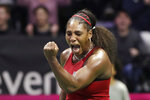 United States' Serena Williams reacts after winning a decisive point late in her match against Latvia's Jelena Ostapenko during a Fed Cup qualifying tennis match Friday, Feb. 7, 2020, in Everett, Wash. Williams won 2-0. (AP Photo/Elaine Thompson)