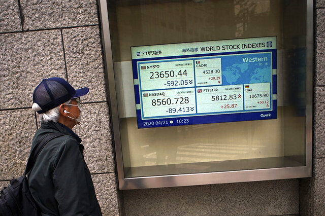 A man wearing a mask against the spread of the new coronavirus looks at an electronic stock board showing world stock indexes at a securities firm in Tokyo Tuesday, April 21, 2020. Asian shares skidded on Tuesday after U.S. oil futures plunged below zero as storage for crude runs close to full amid a worldwide glut as demand collapses due to the pandemic. (AP Photo/Eugene Hoshiko)