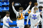 Creighton players celebrate on the bench in the final moments of the second half of a college basketball game against UC Santa Barbara in the first round of the NCAA tournament at Lucas Oil Stadium in Indianapolis Saturday, March 20, 2021. Creighton won 63-62. (AP Photo/Mark Humphrey)