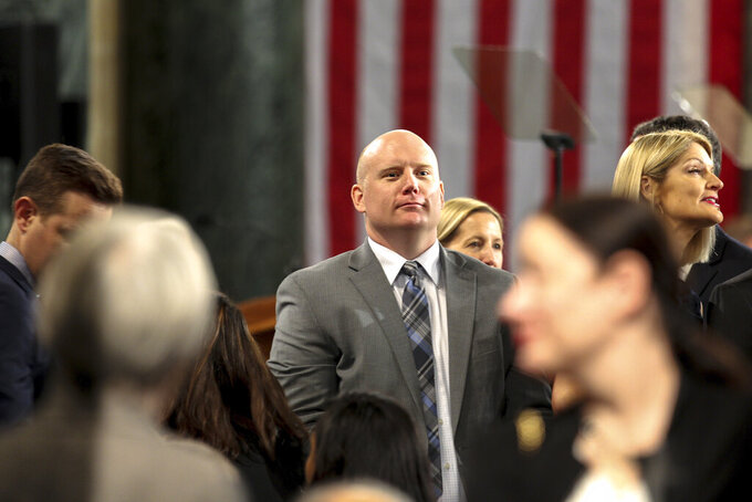 Caleb Frostman, former secretary of Wisconsin Department of Workforce Development, is seen at the Wisconsin State Capitol on Jan. 7, 2019 in Madison, Wis. Gov. Tony Evers in September 2020 asked Frostman to resign as secretary, citing a backlog of unemployment insurance claims. (Emily Hamer/Wisconsin Watch via AP)