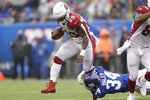 Arizona Cardinals' Chase Edmonds runs the ball during the first half of an NFL football game against the New York Giants, Sunday, Oct. 20, 2019, in East Rutherford, N.J. (AP Photo/Adam Hunger)