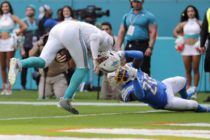 Los Angeles Chargers defensive back Desmond King (20) tackles Miami Dolphins quarterback Josh Rosen (3), during the second half at an NFL football game, Sunday, Sept. 29, 2019, in Miami Gardens, Fla. (AP Photo/Lynne Sladky)
