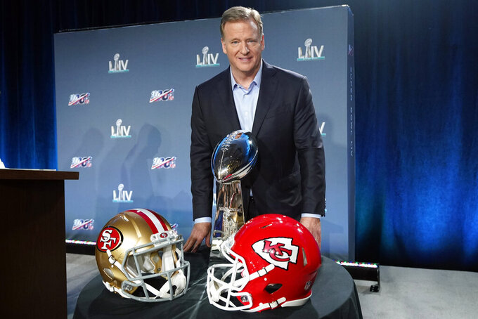 NFL Commissioner Roger Goodell poses with the Vince Lombardi Trophy after a news conference for the NFL Super Bowl 54 football game Wednesday, Jan. 29, 2020, in Miami. (AP Photo/David J. Phillip)