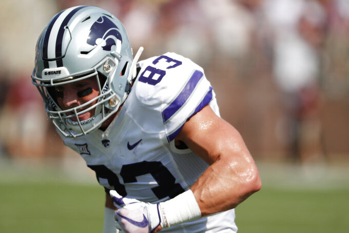 Kansas State wide receiver Dalton Schoen (83) runs downfield during the pregame drills before their NCAA college football game against Mississippi State in Starkville, Miss., Saturday, Sept. 14, 2019. (AP Photo/Rogelio V. Solis)