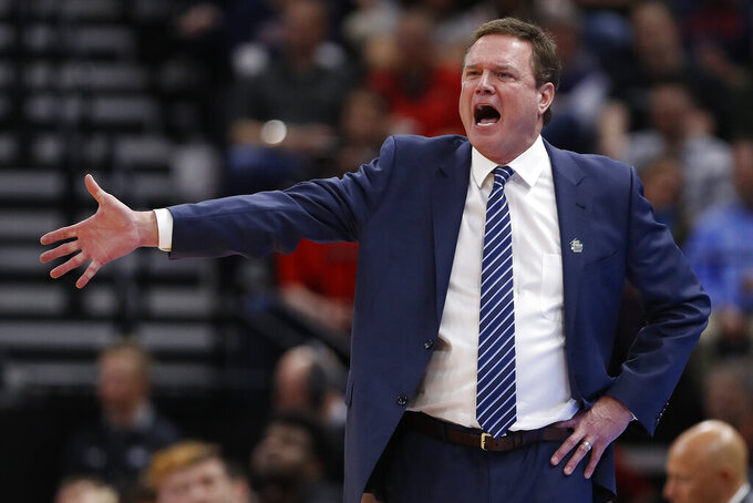 Kansas head coach Bill Self reacts in the first half during a first round men's college basketball game against Northeastern in the NCAA Tournament, Thursday, March 21, 2019, in Salt Lake City. (AP Photo/Jeff Swinger)