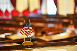 The Vermont House of Representatives chambers is nearly empty due to  COVID-19 concerns during the first day of the new session on Wednesday, Jan. 6, 2021 at the State House, in Montpelier, Vt.   (Kristopher Radder /The Brattleboro Reformer via AP)