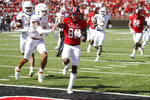Texas Tech wide receiver Kesean Carter holds up two fingers as he scored his second touchdown of the game during the first half of an NCAA college football game against Texas Tech, Saturday Sept. 26, 2020, in Lubbock, Texas. (AP Photo/Mark Rogers)