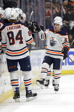 Edmonton Oilers center Tyler Ennis celebrates after scoring during the second period of an NHL hockey game in Anaheim, Calif., Tuesday, Feb. 25, 2020. (AP Photo/Chris Carlson)
