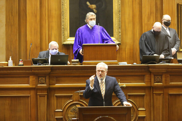 South Carolina Sen. Danny Verdin, R-Laurens, speaks on the Senate floor on Thursday, Jan. 21, 2021 in Columbia, S.C. Verdin is chairman of the Senate Medical Affairs Committee which approved a stricter ban on abortions. (AP Photo/Jeffrey Collins)