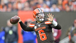 Cleveland Browns quarterback Baker Mayfield throws during the first half of an NFL football game against the Buffalo Bills, Sunday, Nov. 10, 2019, in Cleveland. (AP Photo/David Richard)