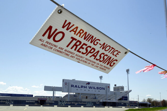 FILE - This May 5, 2011 photo shows Ralph Wilson Stadium in Orchard Park, N.Y., home of the Buffalo Bills, during the NFL football lockout. Eight years ago, when the NFL was hitting a mere 91 and counting, discord between players and owners reached such a fevered state that the league locked out the union. (AP Photo/David Duprey, File)