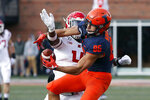 Illinois wide receiver Donny Navarro catches a pass as Rutgers Scarlet Knights defensive back Tim Barrow defends during the first half of an NCAA college football game Saturday, Nov. 2, 2019, in Champaign, Ill. (AP Photo/Charles Rex Arbogast)