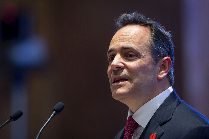 Kentucky Gov. Matt Bevin delivers the State of the Commonwealth address to a joint session of the state legislature at the state Capitol in Frankfort, Ky, Thursday, Feb. 7, 2019. (AP Photo/Bryan Woolston)