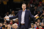 Nebraska head coach Fred Hoiberg reacts to a call against his team during the first half of an NCAA college basketball game against Iowa, Saturday, Feb. 8, 2020, in Iowa City, Iowa. (AP Photo/Charlie Neibergall)