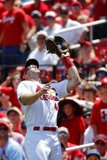 St. Louis Cardinals first baseman Paul Goldschmidt catches a popup in foul territory by Pittsburgh Pirates' Jung Ho Kang during the second inning of a baseball game Wednesday, July 17, 2019, in St. Louis. (AP Photo/Jeff Roberson)