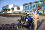 A flight plan is filed on Thursday, Aug. 15, 2019 as testing on NASA's Unmanned Aircraft Systems Traffic Management project continues on the Bayfront in Corpus Christi, Texas.(Rachel Denny Clow/Corpus Christi Caller-Times via AP)