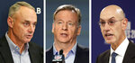 FILE - From left are file photos showing Major League Baseball commissioner Rob Manfred, NFL commissioner Roger Goodell and NBA commissioner Adam Silver. Nobody can say with precise certainty how many coronavirus tests that the NBA, NHL and Major League Baseball would need before those leagues can resume playing games. (AP Photo/File)