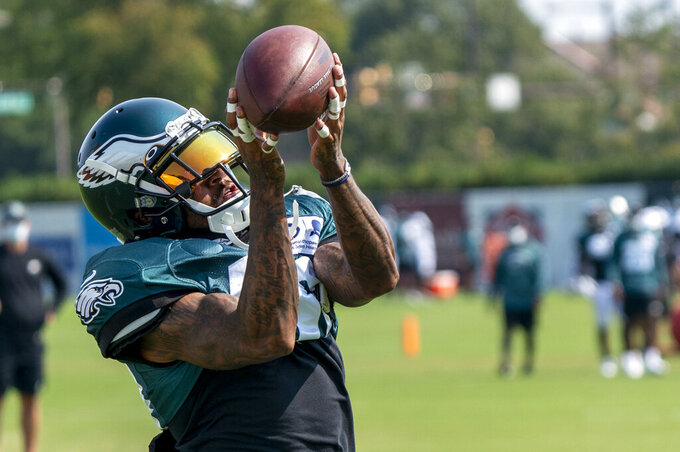 Philadelphia Eagles wide receiver DeSean Jackson catches the ball during an NFL football practice, Thursday, Aug. 27, 2020, in Philadelphia. (AP Photo/Chris Szagola, Pool)