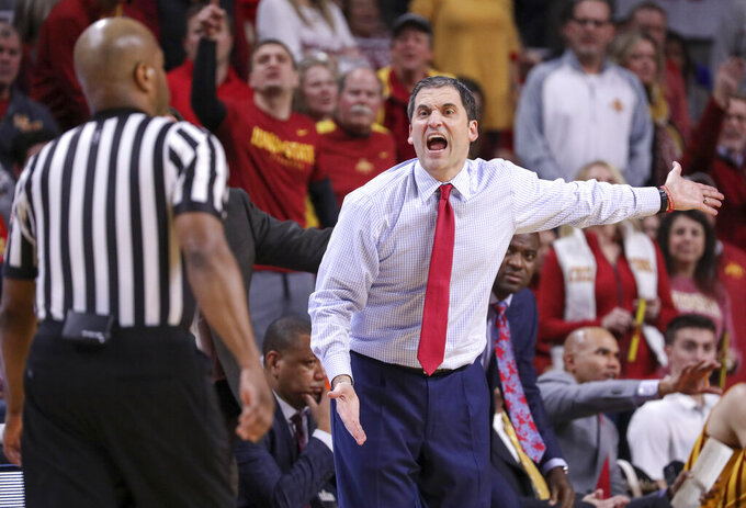 Iowa State head coach Steve Prohm disagrees with a call from one of the officials during the second half of an NCAA college basketball game against Kansas State, Saturday, Jan. 12, 2019, in Ames, Iowa. Kansas State won 58-57. (AP Photo/Justin Hayworth)
