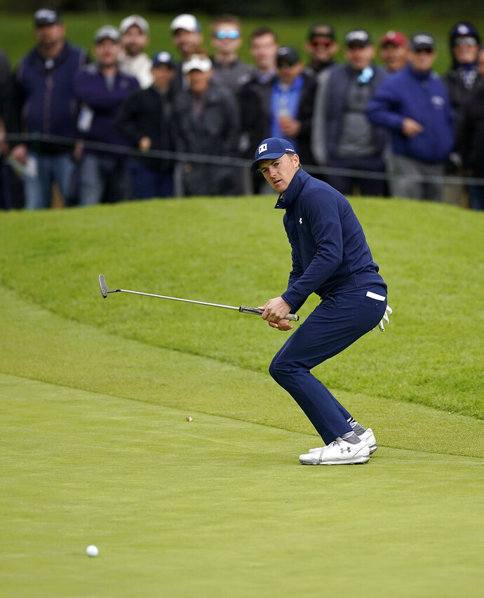 Jordan Spieth reacts after missing a putt on the first hole during the final round of the Genesis Open golf tournament at Riviera Country Club on Sunday, Feb. 17, 2019, in the Pacific Palisades area of Los Angeles. (AP Photo/Ryan Kang)