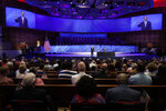 FILE - In this Sunday, June 28, 2020 file photo, Senior Pastor Robert Jeffress addresses attendees before Vice President Mike Pence was to speak at the First Baptist Church Dallas during a Celebrate Freedom Rally in Dallas. Concerning the COVID-19 pandemic, the prominent megachurch leader has said,