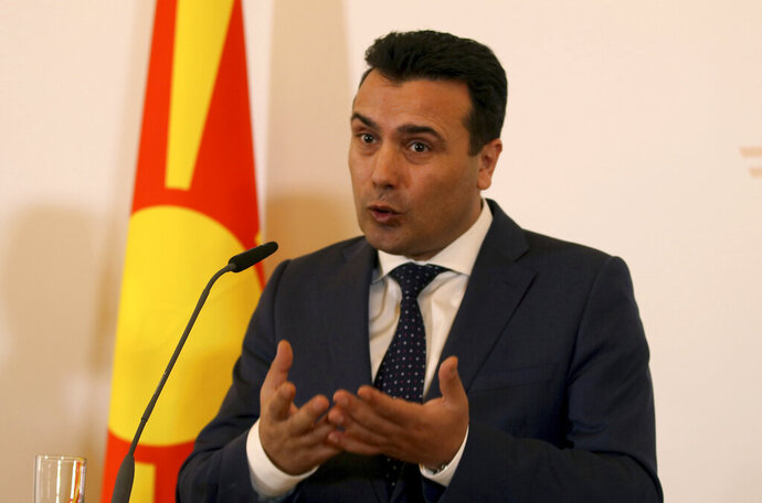 Macedonian Prime Minister Zoran Zaev addresses the media during a joint press conference with Austria's Chancellor Sebastian Kurz at the federal chancellery in Vienna, Austria, Wednesday, Jan. 30, 2019. (AP Photo/Ronald Zak)