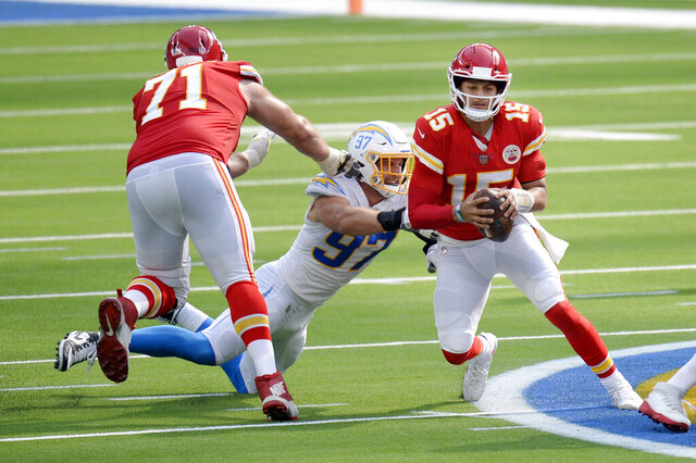 Kansas City Chiefs quarterback Patrick Mahomes, right, is tackled by Los Angeles Chargers defensive end Joey Bosa, center, during the second half of an NFL football game Sunday, Sept. 20, 2020, in Inglewood, Calif. (AP Photo/Kyusung Gong)