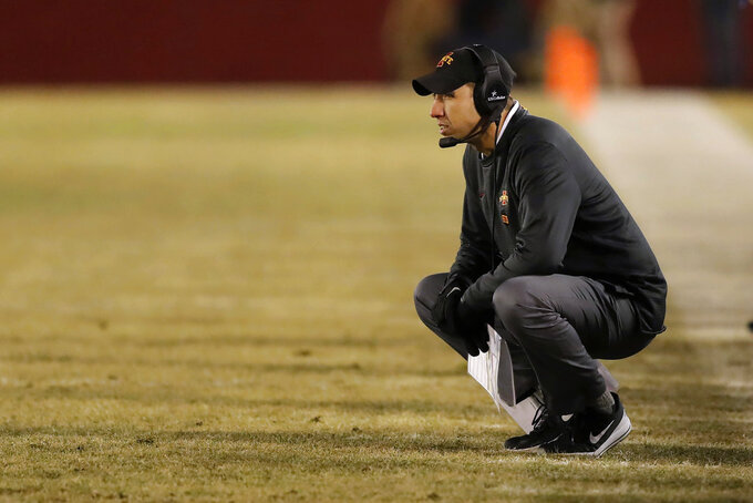 Iowa State head coach Matt Campbell watches from the sideline during the first half of an NCAA college football game against Kansas State, Saturday, Nov. 24, 2018, in Ames, Iowa. Iowa State won 42-38. (AP Photo/Charlie Neibergall)