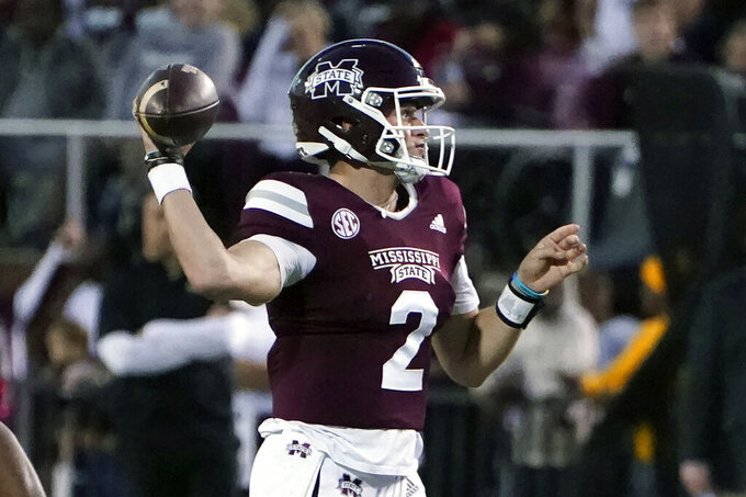 Mississippi State quarterback Will Rogers (2) passes against Alabama during the first half of an NCAA college football game in Starkville, Miss., Saturday, Oct. 16, 2021. (AP Photo/Rogelio V. Solis)