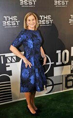 United States women's World Cup winning coach Jill Ellis arrives to attend the Best FIFA soccer awards, in Milan's La Scala theater, northern Italy, Monday, Sept. 23, 2019. Netherlands defender Virgil van Dijk is up against five-time winners Cristiano Ronaldo and Lionel Messi for the FIFA best player award and United States forward Megan Rapinoe is the favorite for the women's award. (AP Photo/Luca Bruno)
