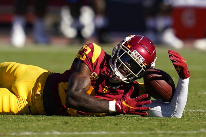 Southern California cornerback Joshua Jackson Jr. (23) can't hold on to a pass intended for a San Jose State receiver during the second half of an NCAA college football game Saturday, Sept. 4, 2021, in Los Angeles. (AP Photo/Ashley Landis)