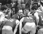 FILE - In this Dec. 6, 1985, file photo, actor Gene Hackman gives fictional Hickory High basketball players instructions during filming of the final game of the movie