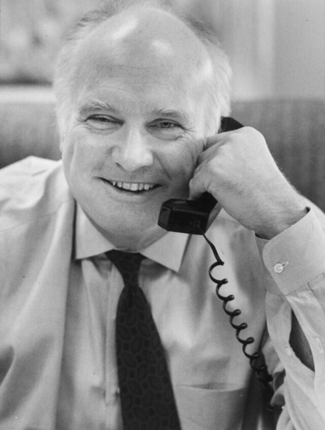This Nov. 25, 1991, photo shows Michael Wright, CEO of Supervalu. Wright, a former University of Minnesota football star who led grocery wholesaler Supervalu Inc. for 20 years, has died. He was 81. Wright died Monday, Jan. 27, 2020, at his home in Wayzata of complications from pneumonia, Wright's son, Adam Wright, told the Star Tribune. (Marlin Levison/Star Tribune via AP)