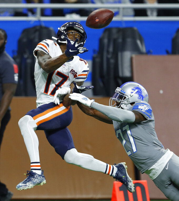 Chicago Bears wide receiver Anthony Miller (17), defended by Detroit Lions cornerback Justin Coleman (27), catches during the second half of an NFL football game, Thursday, Nov. 28, 2019, in Detroit. (AP Photo/Paul Sancya)