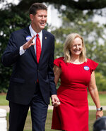 Alabama Secretary of State John Merrill and his wife Cindy Merrill, arrive for his press conference at the State Capital building in Montgomery, Ala., where he announced that he is running for the U.S. Senate on Tuesday June 25 , 2019. (Mickey Welsh/Montgomery Advertiser via AP)