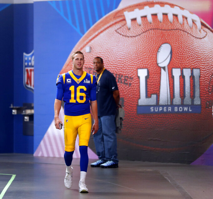 Los Angeles Rams quarterback Jared Goff (16) leaves the locker room for a walkthrough at the Mercedes Benz Stadium for the NFL Super Bowl 53 football game against the New England Patriots, Saturday, Feb. 2, 2019, in Atlanta. (AP Photo/John Bazemore)