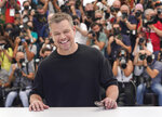 FILE - In this July 9, 2021 file photo Matt Damon poses for photographers at the photo call for the film 'Stillwater' at the 74th international film festival, Cannes, southern France. (AP Photo/Brynn Anderson, File)