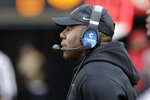 Vanderbilt head coach Derek Mason watches from the sideline in the first half of an NCAA college football game against ETSU Saturday, Nov. 23, 2019, in Nashville, Tenn. (AP Photo/Mark Humphrey)