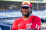 Washington Nationals and former Pittsburgh Pirates first baseman Josh Bell answers reporters' questions before the team's baseball game against the Pittsburgh Pirates, Friday, Sept. 10, 2021, in Pittsburgh. (AP Photo/Keith Srakocic)