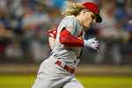 St. Louis Cardinals' Harrison Bader runs the bases after hitting a home run during the fourth inning of a baseball game against the New York Mets Wednesday, Sept. 15, 2021, in New York. (AP Photo/Frank Franklin II)