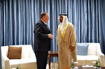 U.S. Secretary of State Mike Pompeo talks to United Arab Emirates Minister of State Ahmed al-Sayegh in Abu Dhabi, United Arab Emirates, Thursday, Sept. 19, 2019. (Mandel Ngan/Pool via AP)