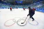 The German men's hockey team practices at the Gangneung Hockey Centre prior to the 2018 Winter Olympics in Gangneung, South Korea, Friday, Feb. 9, 2018. (AP Photo/Frank Franklin II)